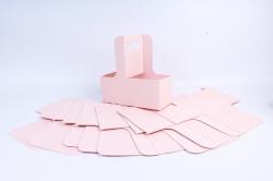 Сумка-корзинка для цветов с ручкой розовая  (10шт в уп)  цена за уп  F15