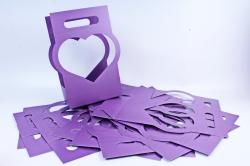 Сумка-корзинка для цветов Сердце фиолет  (10шт в уп)  цена за уп  F16