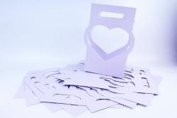 Сумка-корзинка для цветов Сердце сирень  (10шт в уп)  цена за уп  F16