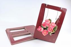 Сумка-корзинка прямоуг. для цветов  бордовая (10шт в уп.) F13