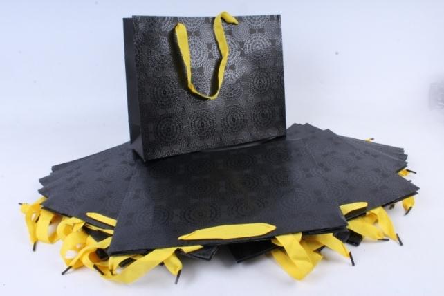 Сумка  Люкс Черная с желтыми ручками   (12 шт/уп) Цена за 1шт L98