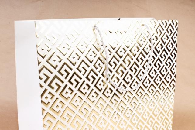 Сумка  Люкс Восточный орнамент белый с золотом   (12шт/уп) Цена за 1шт L746