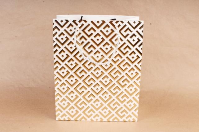 Сумка  Люкс Восточный орнамент белый с золотом   (12шт/уп) Цена за 1шт L745