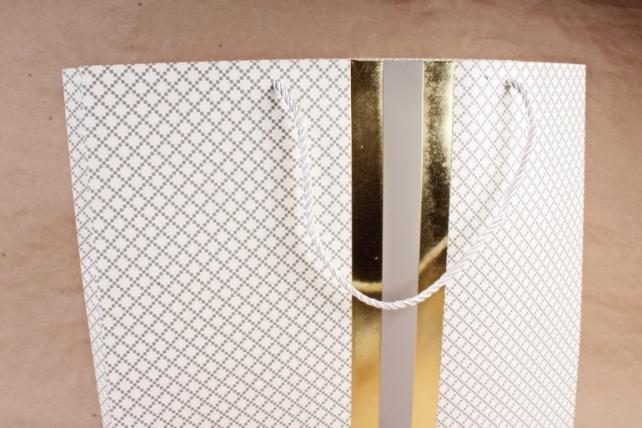 Сумка  Люкс Золотая полоса белые  (12шт/уп) Цена за 1шт L743