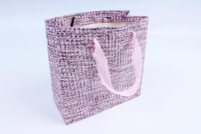 Сумка  Люкс  Вязание бежево/фиолетовая (20*20*9) L206 Цена за 1шт