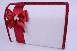 Сундук для денег белый с бардовым декором открывающийся 28,5x14,5 h=20см