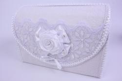 Сундук для денег белый с розой и кружевом открывающийся 28,5x14,5 h=20см