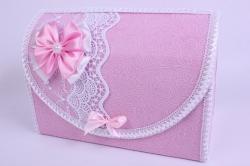 Сундук для денег розовый с бантом и белым кружевом открывающийся 28,5x14,5 h=20см