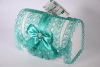 Сундук свадебный для денег - бело/ментоловый открывающийся (1) 28х15см h=19см