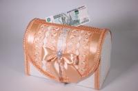 Сундук свадебный для денег - бело/персиковый открывающийся (1) 28х15см h=19см