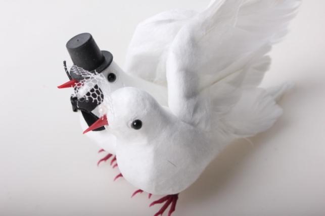 Свадебные голуби искусственные 2 шт Н14АТ218