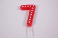 Свеча Красная цифра 7 в белую точку 4,3 см  803147