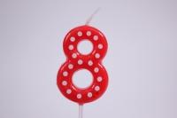 Свеча Красная цифра 8 в белую точку 4,3 см  803148