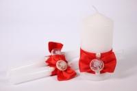 """Свечи """"Домашний очаг"""" - белый с красными розами (3шт в коробке) (1)"""
