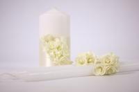 """Свечи """"Домашний очаг"""" - белый с розами лайм (3шт в коробке) (1)"""