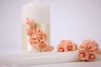 """Свечи """"Домашний очаг"""" - белый с розовым (3шт в коробке) (1)"""