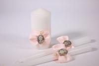 """Свечи """"Домашний очаг"""" - белый со светло розовыми розами (3шт в коробке) (1)"""