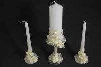 """Свечи """"Домашний очаг"""" на ножке розы шампань (3шт в наборе) (1)"""