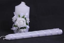 """Свечи """"Домашний очаг""""  - с белым декором и розой (3шт в коробке) h=12/24см"""