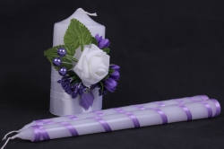 """Свечи """"Домашний очаг""""  - с сиреневым декором и розой (3шт в коробке) h=12/24см"""
