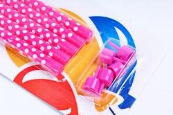 Свечи Точки, розовый/белый, с держателями 15см, 5 шт, 132415