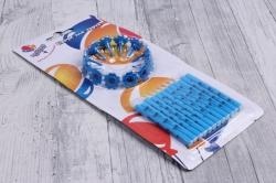 Свечи в шариках, голубые с держателями 12 шт (6 см), 132445