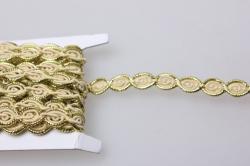Тесьма декоративная Цепочка овалы (золото) 5 ярдов 7124
