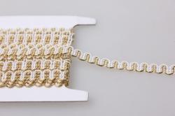 Тесьма декоративная Кружево  (золото,белый) 5 ярдов 7155