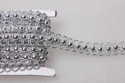 Тесьма декоративная с бусинами (серебро) 5 ярдов 7490