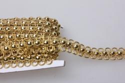 Тесьма декоративная с бусинами (золото) 5 ярдов 7506
