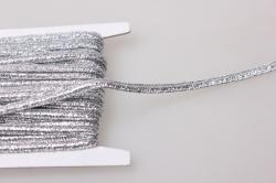 Тесьма декоративная Шнур плоский плетеный (серебро) 5 ярдов 7346