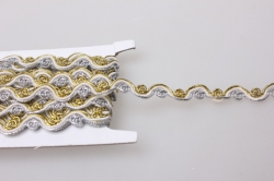 Тесьма декоративная Волна (цвет белый,серебро) 5 ярдов 7100