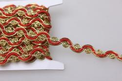 Тесьма декоративная Волна (красный,золотой) 5 ярдов 7117
