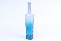 ТОМОТО-1 Бутылочная ваза 500 с декором Синяя цветная микс алмазная грань1460-Р