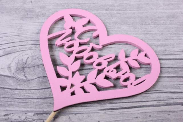 """Топпер """"Поздравительная надпись"""" """"С любовью"""" в сердце, окрашен. на палочке (шир.10,5см;выс.9,2см) МДФ, 1штТпн43-04-0505"""
