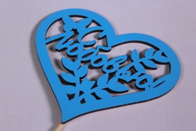 """Топпер """"Поздравительная надпись"""" """"С любовью"""" в сердце, окрашен. на палочке (шир.10,5см;выс.9,2см) МДФ, 1штТпн43-04-0707"""