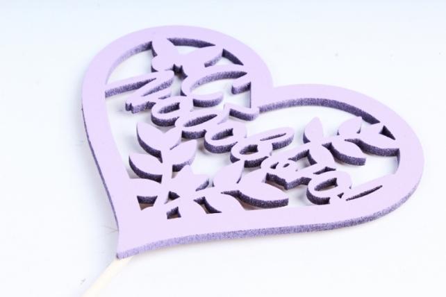 """Топпер """"Поздравительная надпись"""" """"С любовью"""" в сердце, окрашен. (шир.10,5см) сирень Тпн43-04-0909"""