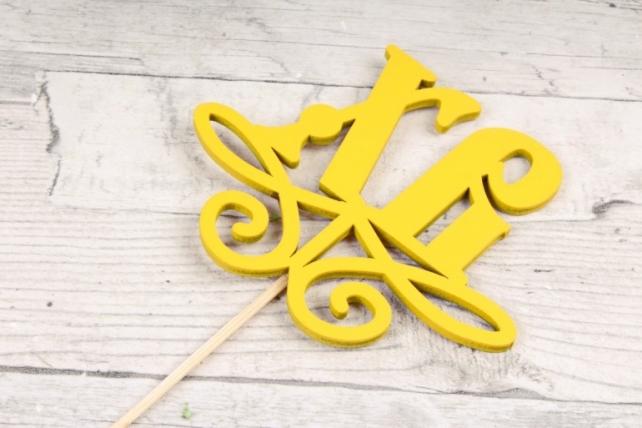 """Топпер (С) """"ХВ"""" с вензелем желтый 10х8,5 h=28см"""