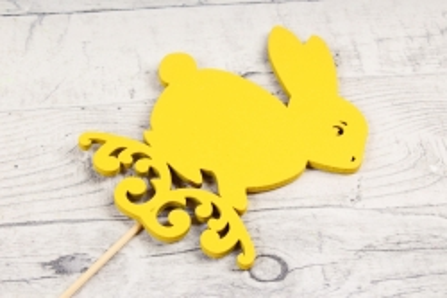 Топпер (С) пасхальный зайчик жёлтый 8х10,5 h=28см