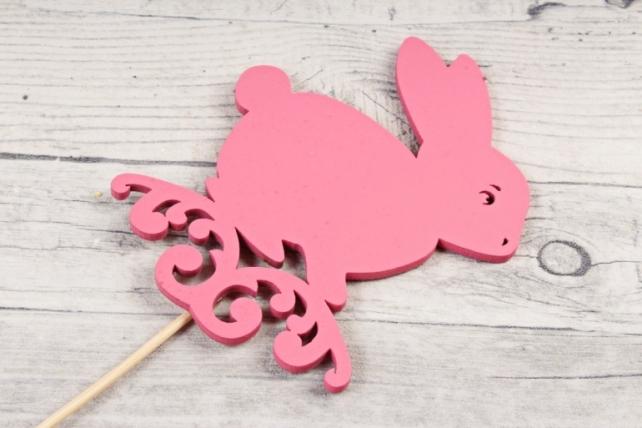 Топпер (С) пасхальный зайчик розовый 8х10,5 h=28см