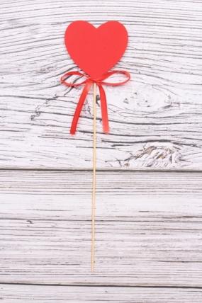 """Топпер (Т) """"Сердце красное"""" с красным бантомh=28см"""