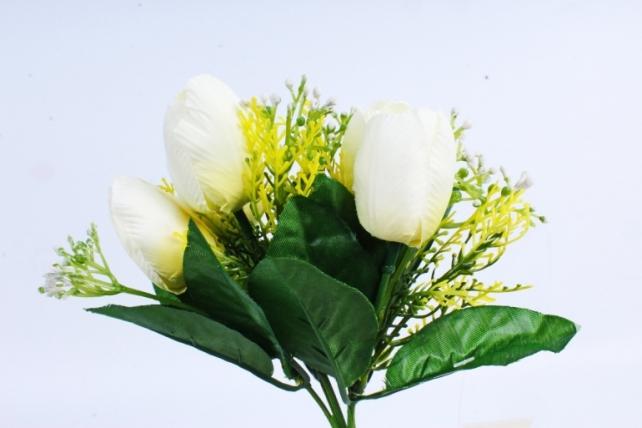 Тюльпан с декором белый