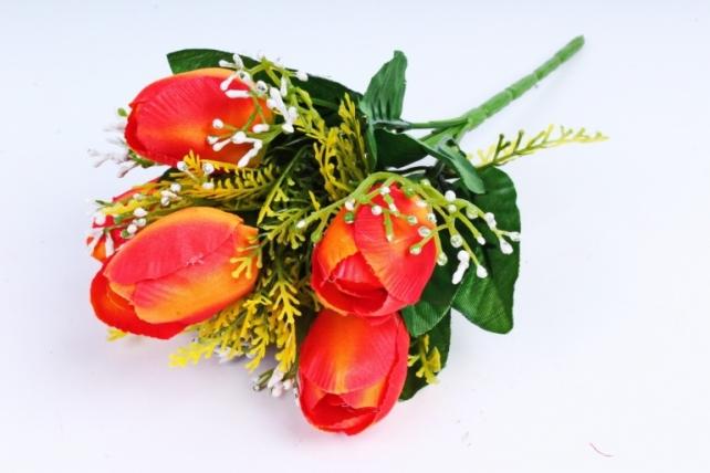 Тюльпан с декором оранжевый