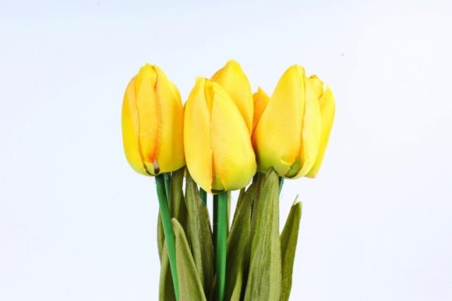 Тюльпаны букет (10 шт в уп)  жёлтые ART002