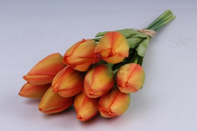 тюльпаны букет 42 см (10 шт в уп) оранжевые art002