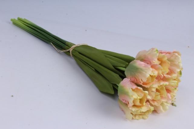 Тюльпаны букет 45 см (10 шт в уп) кремово-розовые ART007