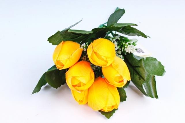 Тюльпаны жёлтые с вереском