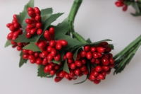 тычинки  красные с листочками 7см (144 шт в уп) 1709
