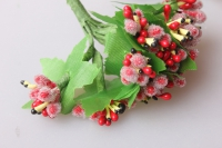 тычинки красные сахарные с листочками 7см (120 шт в упаковке) 1730