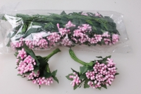 Тычинки  розовые с листочками 7см (144 шт в уп) 1693